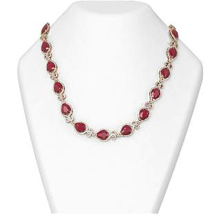 76.53 ctw Ruby & Diamond Necklace 18K Rose Gold -