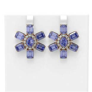 31.99 ctw Tanzanite & Diamond Earrings 18K Rose Gold -