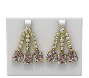 20.22 ctw Morganite & Diamond Earrings 18K Yellow Gold
