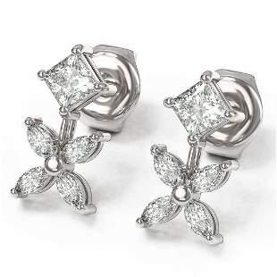 1.5 ctw Princess & Marquise Cut Diamond Earrings 18K