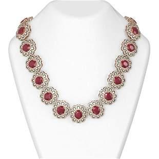 115.18 ctw Ruby & Diamond Necklace 18K Rose Gold -