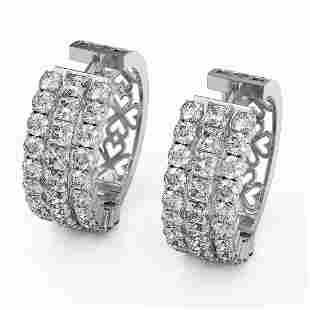 10.92 ctw Princess Cut Diamond Earrings 18K White Gold