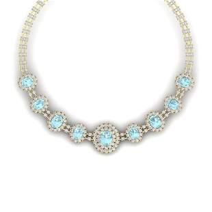 47.10 ctw Sky Topaz & VS Diamond Necklace 18K Yellow