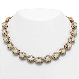 91.75 ctw Certified Opal & Diamond Victorian Necklace