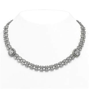 30.82 ctw Cushion & Oval Diamond Necklace 18K White