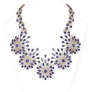 114.23 ctw Sapphire & Diamond Necklace 18K Rose Gold -