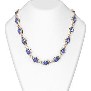 68.5 ctw Tanzanite & Diamond Necklace 18K Rose Gold -