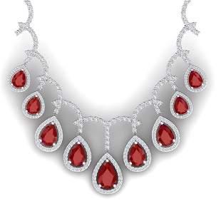31.5 ctw Designer Ruby & VS Diamond Necklace 18K White