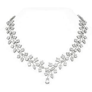 74.63 ctw Diamond Necklace 18K White Gold -