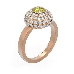 2 ctw Fancy Yellow Diamond Ring 18K Rose Gold -