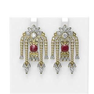 16.13 ctw Ruby & Diamond Earrings 18K Yellow Gold -