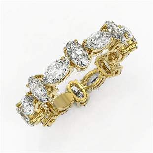 4.16 ctw Oval Cut Diamond Eternity Ring 18K Yellow Gold