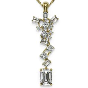 2.2 ctw Emerald Cut Diamond Designer Necklace 18K