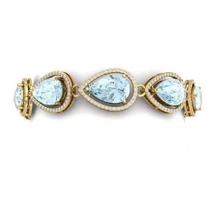 25.53 ctw Sky Topaz & VS Diamond Bracelet 18K Yellow