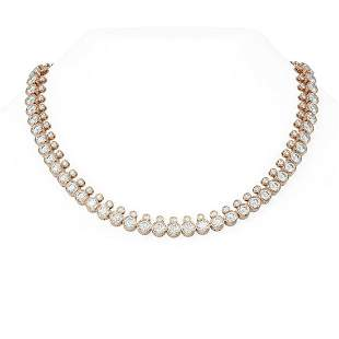 36 ctw Diamond Necklace 18K Rose Gold - REF-5471W9H
