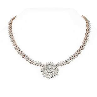 38 ctw Diamond Necklace 18K Rose Gold - REF-6883M3G
