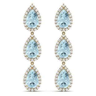 27.3 ctw Sky Topaz & VS Diamond Earrings 18K Yellow