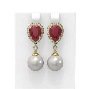 8.03 ctw Ruby & Diamond Earrings 18K Yellow Gold -