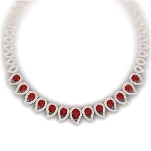 33.4 ctw Designer Ruby & VS Diamond Necklace 18K Rose