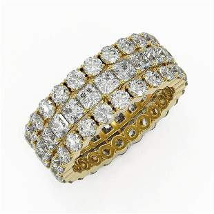 6.48 ctw Princess Cut Diamond Eternity Ring 18K Yellow