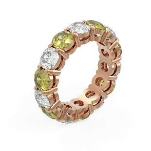 7.28 ctw Fancy Yellow Diamond Ring 18K Rose Gold -
