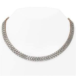 74 ctw Emerald Cut Diamond Rare Necklace 18K Rose Gold