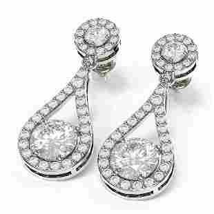 3.54 ctw Diamond Earrings 18K White Gold - REF-619F2M