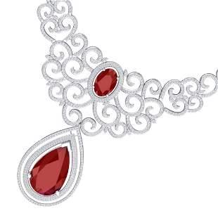 87.52 ctw Ruby & VS Diamond Necklace 18K White Gold -