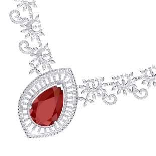 65.75 ctw Ruby & VS Diamond Necklace 18K White Gold -