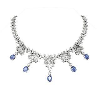 41.61 ctw Tanzanite & Diamond Necklace 18K White Gold -