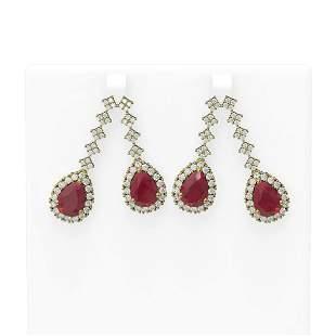 15.49 ctw Ruby & Diamond Earrings 18K Yellow Gold -