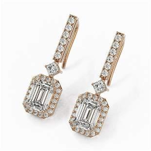 4.25 ctw Emerald Cut Diamond Designer Earrings 18K Rose
