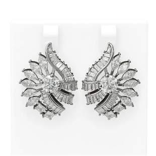 8.98 ctw Diamond Earrings 18K White Gold - REF-1487X3A