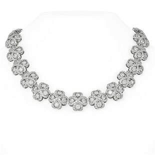 68.27 ctw Diamond Necklace 18K White Gold - REF-6084X4A