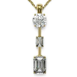 1.75 ctw Emerald Cut Diamond Designer Necklace 18K