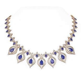 50.55 ctw Sapphire & Diamond Necklace 18K Rose Gold -