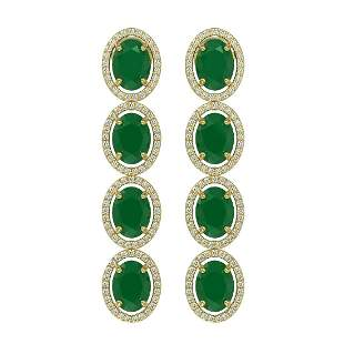 15.68 ctw Emerald & Diamond Micro Pave Halo Earrings