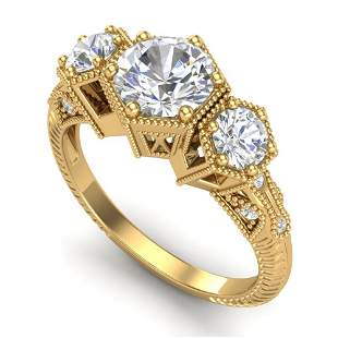 1.66 ctw VS/SI Diamond Solitaire Art Deco 3 Stone Ring