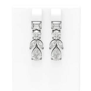 5.68 ctw Diamond Earrings 18K White Gold - REF-1281W5H