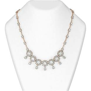 39 ctw Cushion Diamond Necklace 18K Rose Gold -