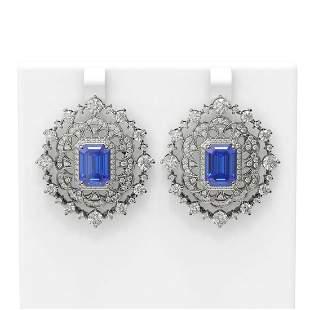15.93 ctw Tanzanite & Diamond Earrings 18K White Gold -
