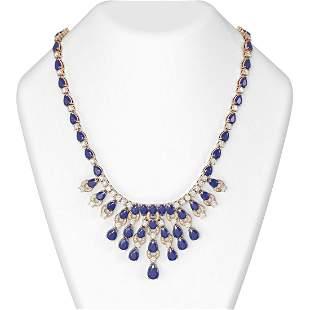 75.17 ctw Sapphire & Diamond Necklace 18K Rose Gold -