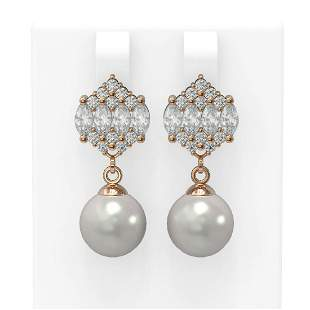 2.98 ctw Diamond & Pearl Earrings 18K Rose Gold -
