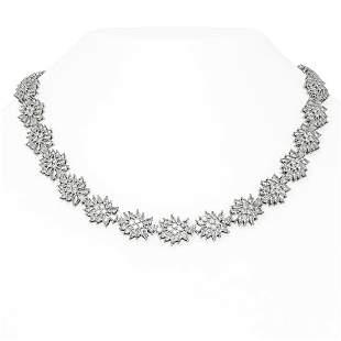 54.28 ctw Diamond Necklace 18K White Gold - REF-5653X5A