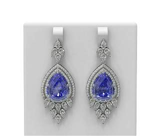30.75 ctw Tanzanite & Diamond Earrings 18K White Gold -