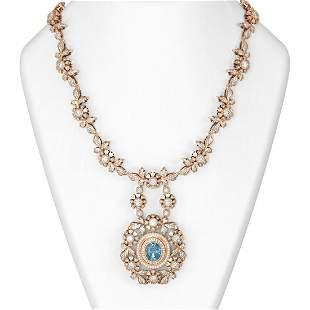 22.97 ctw Aquamarine & Diamond Necklace 18K Rose Gold -