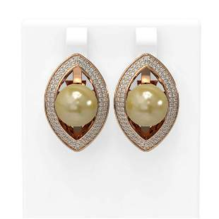 1.61 ctw Diamond & Pearl Earrings 18K Rose Gold -