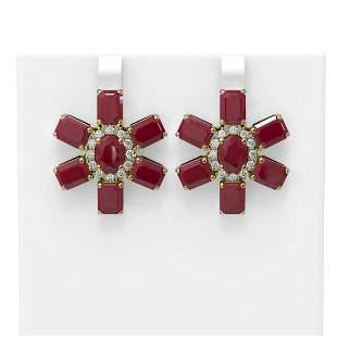 35.99 ctw Ruby & Diamond Earrings 18K Yellow Gold -