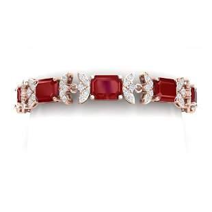 38.13 ctw Ruby & VS Diamond Bracelet 18K Rose Gold -