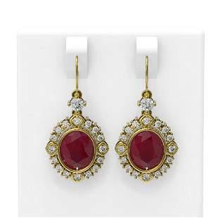 9.52 ctw Ruby & Diamond Earrings 18K Yellow Gold -